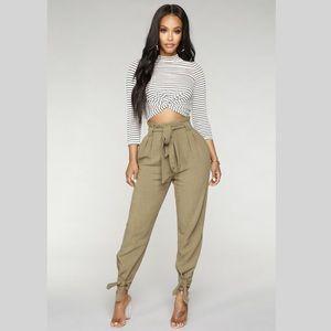 NWT FashionNova Moving Forward PaperbagWaist Pants